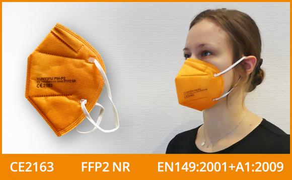 FFP2 Masken (zertifiziert, farbig), orange